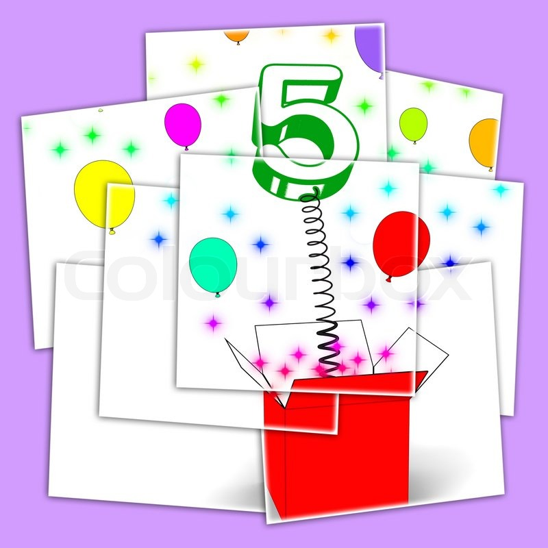 Number Five Surprise Box Displaying Surprise Party Or Festivity, stock photo