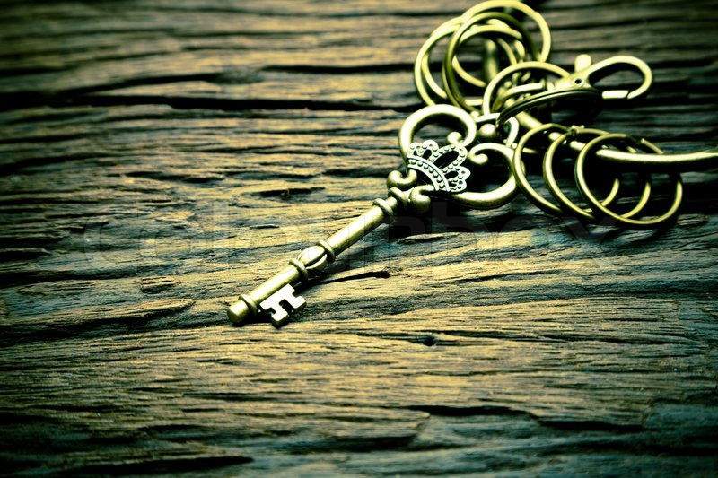 Vintage Key On Wood Background Stock Photo Colourbox