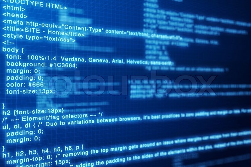 Html Code Blue Screen Background Stock Image Colourbox