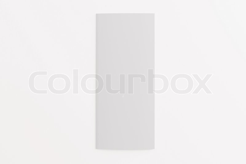 blank tri fold brochure isolated on white to replace your design or