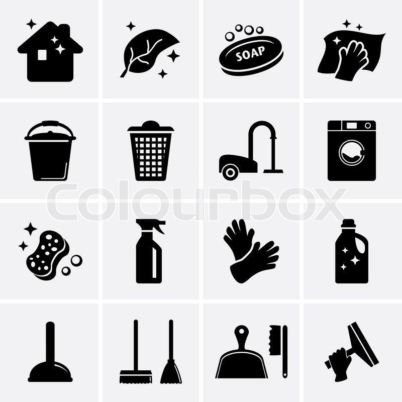 Reinigung Symbole | Vektorgrafik | Colourbox