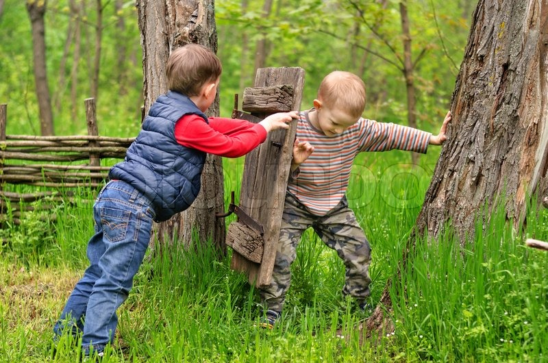 Stock Image Of Two Young Boys Fighting Over A Rustic Old Gate With One Trying
