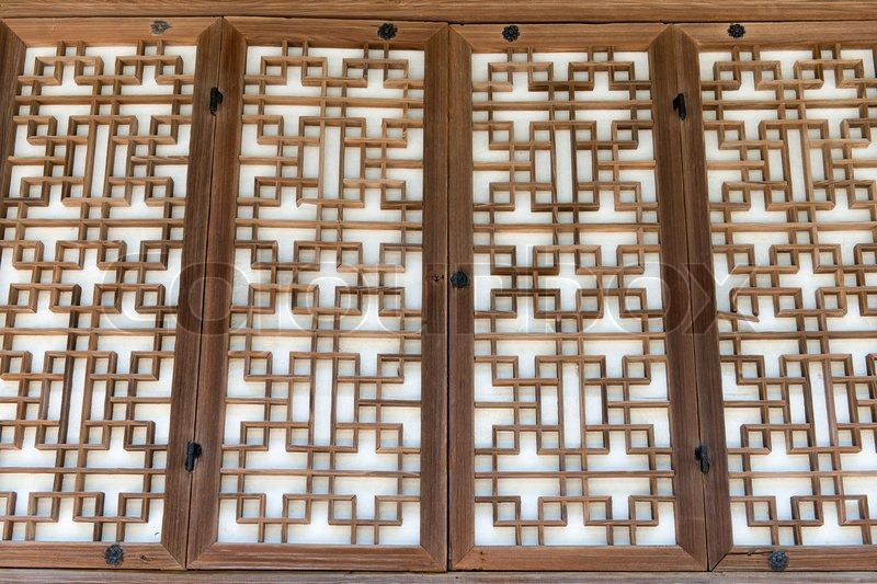 Background pattern of a traditional wooden paper door in ...