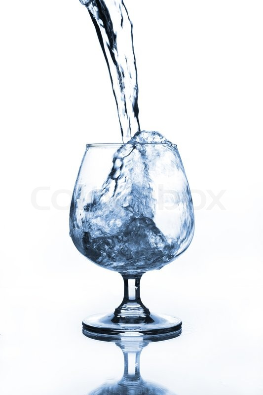 Wine Glass With Water Pouring Stock Image Colourbox
