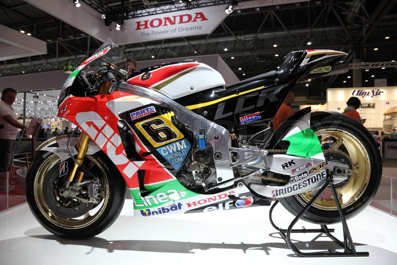 LEIPZIG, GERMANY - JUNE 1: Honda Racing Motorcycle at the AMI - Auto Mobile International Trade Fair on June 1st, 2014 in Leipzig, Saxony, Germany, stock photo