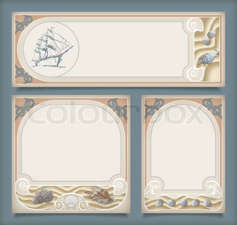 Set of sea vintage vacation frame banners or labels. Marine ...
