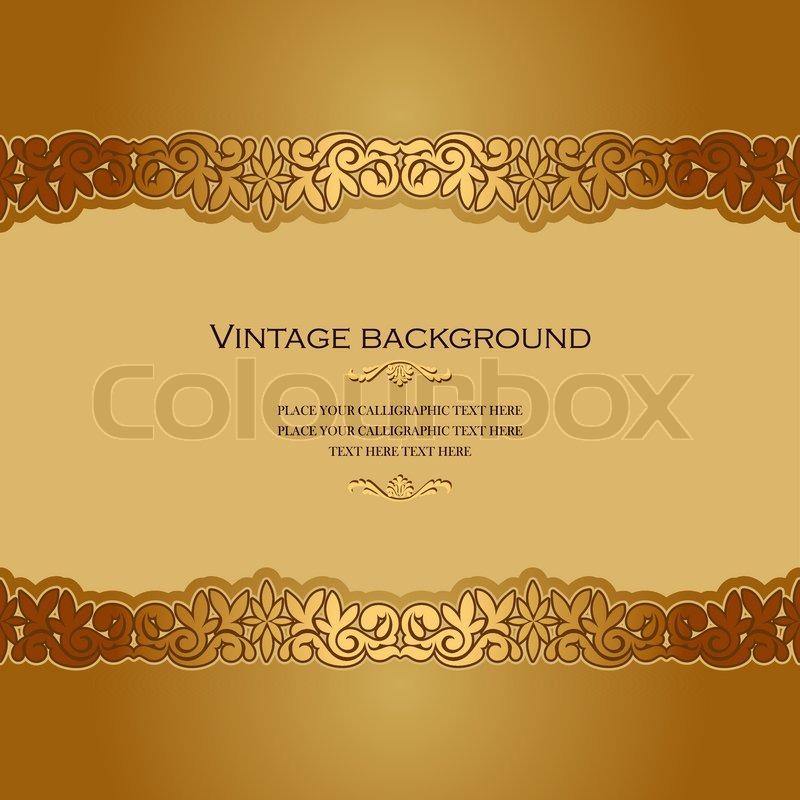 Vintage background, antique, victorian gold ornament, baroque ...