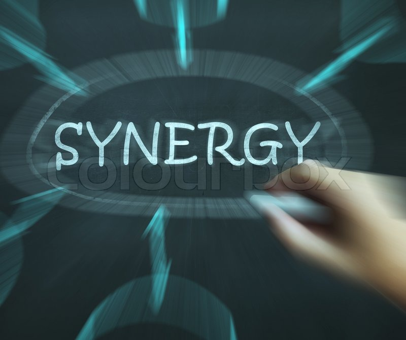 Synergy Diagram Meaning Joint Effort And Cooperation, stock photo
