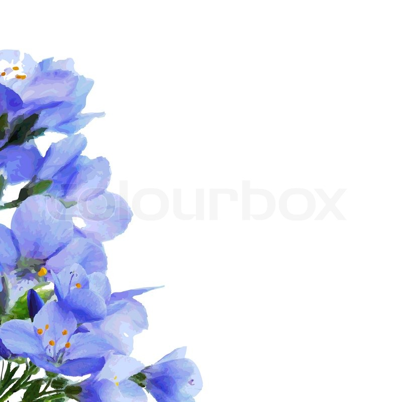 Blue Flowers Border Vector Illustration