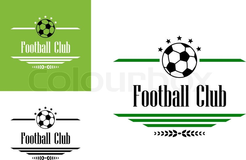 Football Or Soccer Club Symbol With Ball Stars Text And Dividers