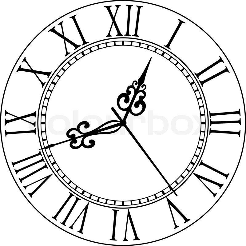 Line Drawing Of Clock Face : Alte zifferblatt mit r�mischen ziffern vektorgrafik