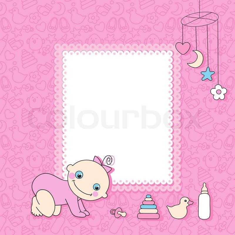 Sweet baby girl announcement card style cartoon. Vector illustration ...
