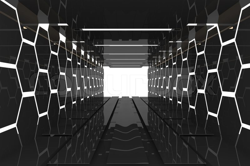 Futuristic Interior Decorate Black Hexagon Wall Empty Room With Reflective Materials