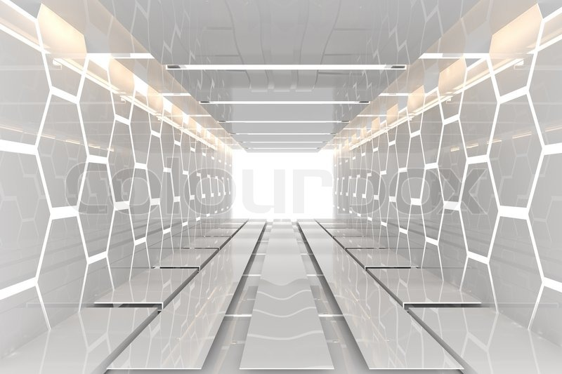 Futuristic Interior Decorate White Hexagon Wall Empty Room With Reflective Materials