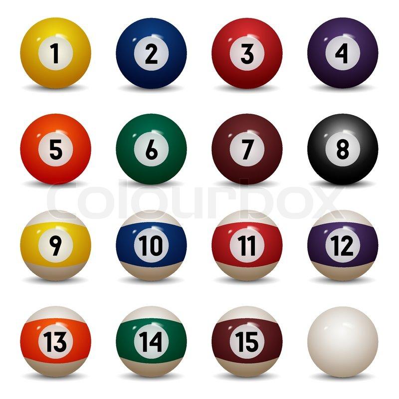 Farbige Pool Bälle isoliert. Zahlen von 1 bis 15 und 0 (null) Ball ...