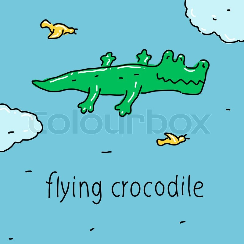 The Flying Crocodile symbol of strong imagination, vector