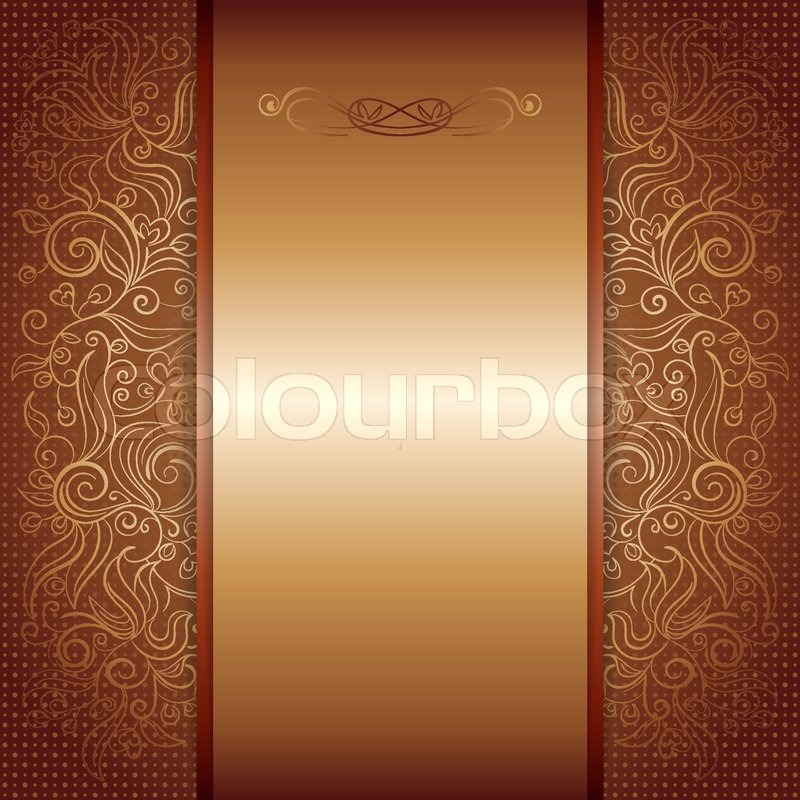 Brown with gold damask pattern royal invitation card, eps ...