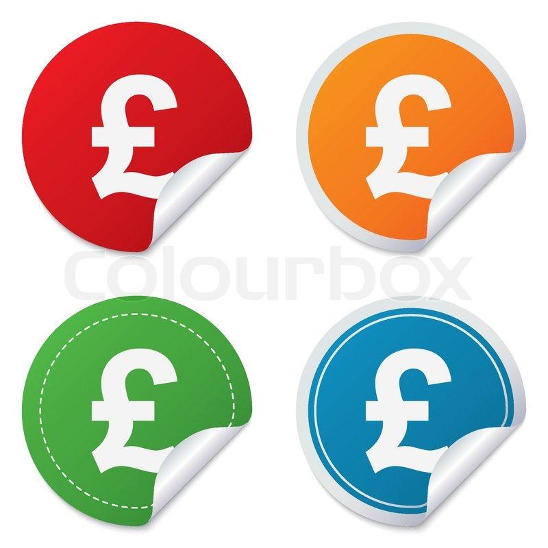 Pound Sign Icon Gbp Currency Symbol Money Label Round Stickers