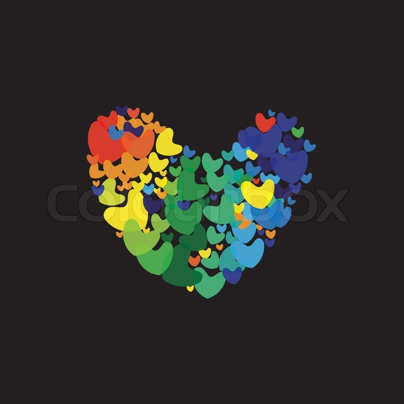 Rainbow Color Heart Icons Or Symbols Concept Vector Graphic This