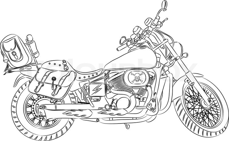 Vector Outline A Motorcycle With Travel Bag Stock Vector