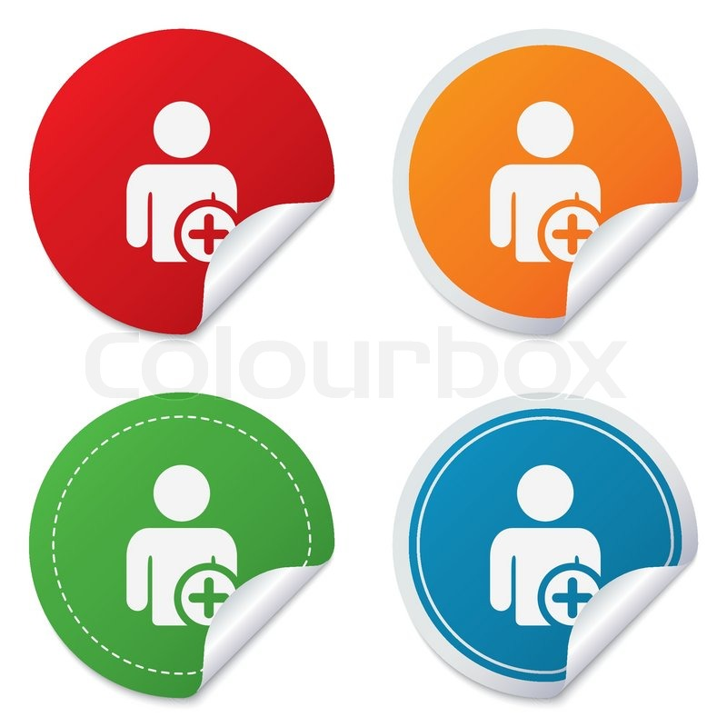 Stock vector of add user sign icon add friend symbol round stickers