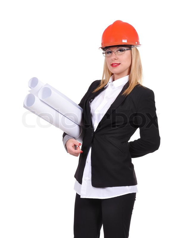 Woman Engineer With Blueprint In Helmet Isolated On White