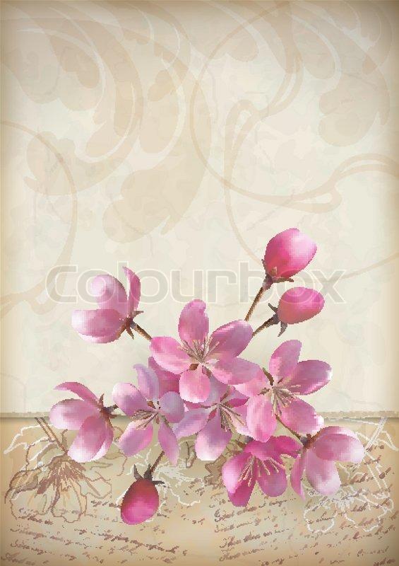 Realistic vector cherry blossom flower arrangement spring design ...