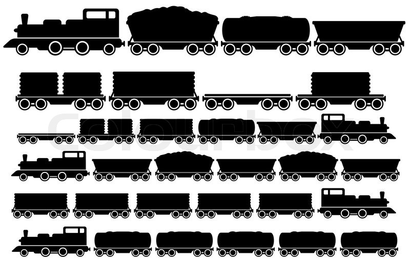 Black Silhouette Of A Old Train With Coal Car