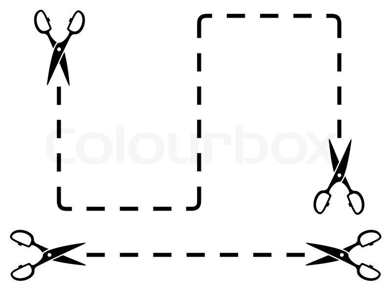 Schwarze Schere und Schnittlinien | Vektorgrafik | Colourbox