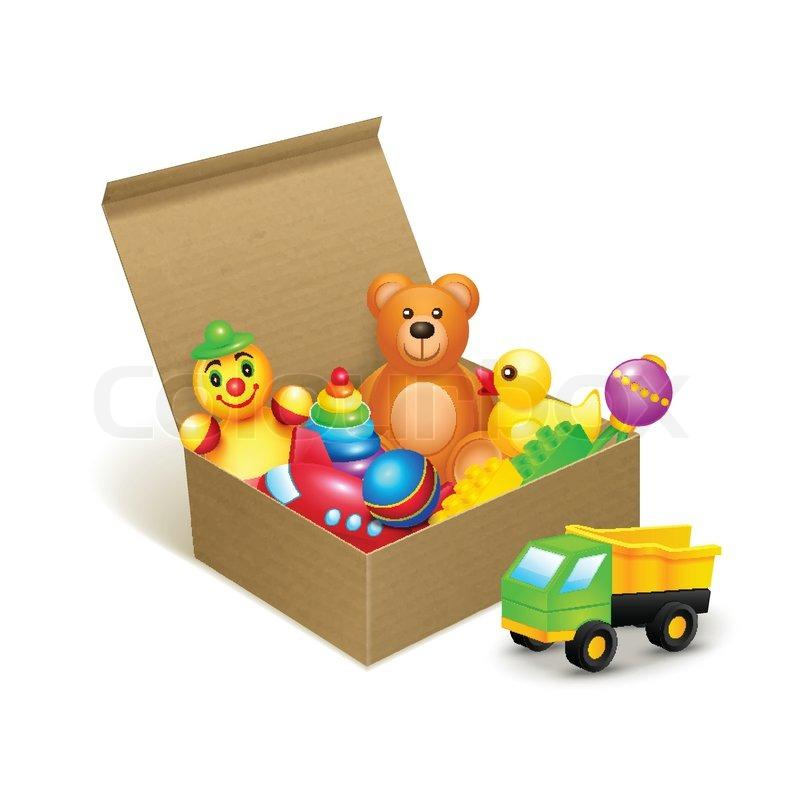 Spielzeug kiste emblem vektorgrafik colourbox