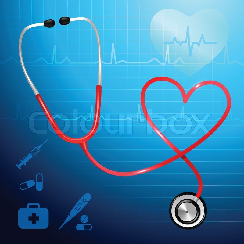 Medical Health Service Stethoscope And Heart Symbol Background