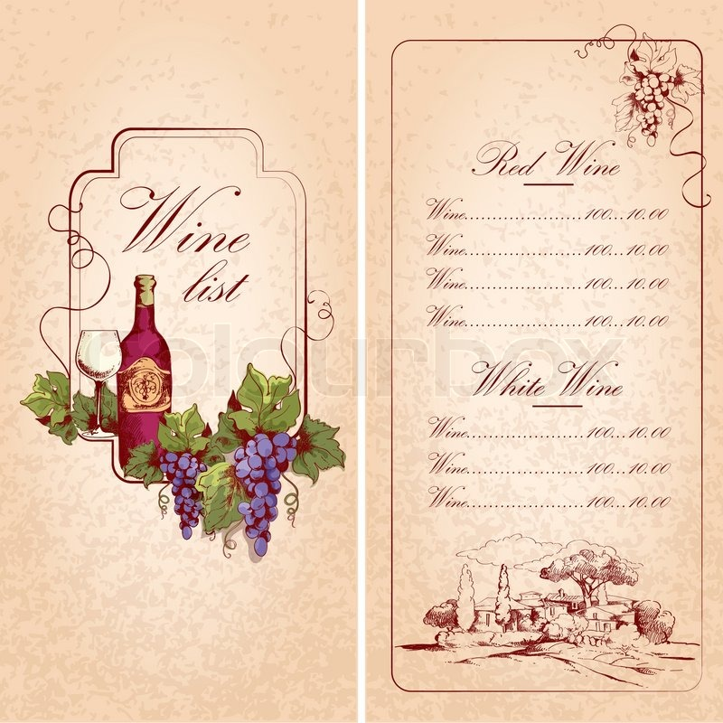 Vintage Restaurant Wine List Card Menu Template Vector Illustration