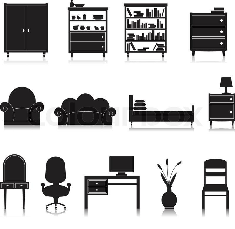 Furniture black decorative icons set ... | Stock vector ...