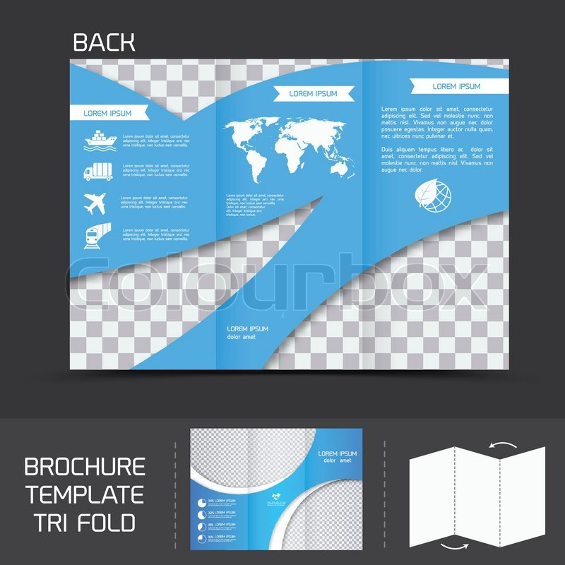 blue logistics brochure leaflet tri fold design back template vector illustration stock vector colourbox