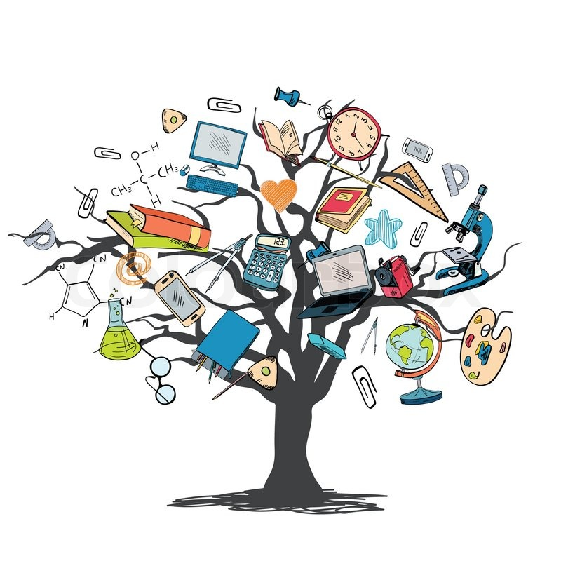 School education elements icons set in tree knowledge ...