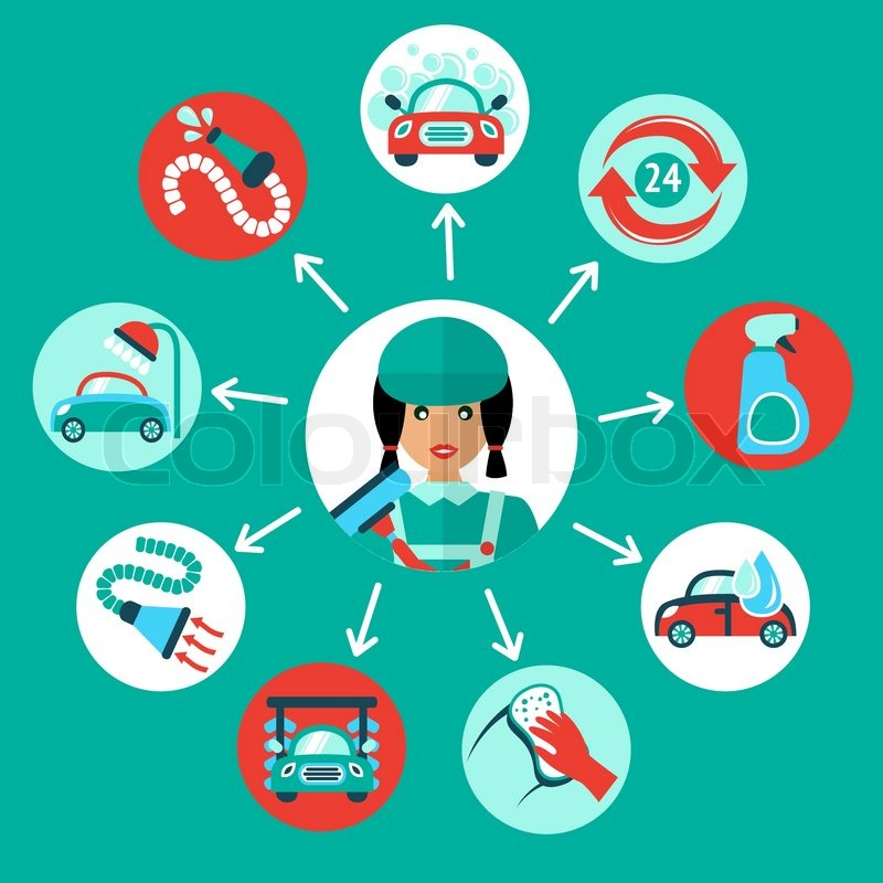 Car Wash Auto Cleaner 24h Service Icons With Service