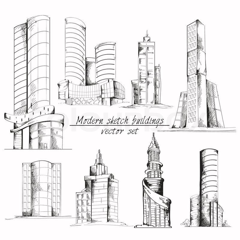 Moderne skizze geb ude vektorgrafik colourbox for Modernes haus gezeichnet