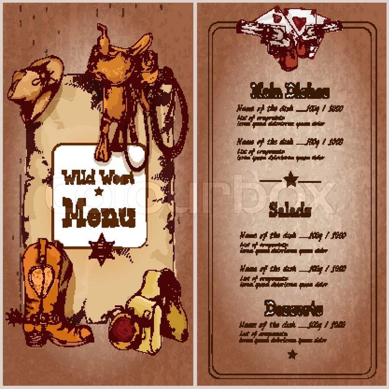 Wild West Restaurant Menu Template With Cowboy Elements