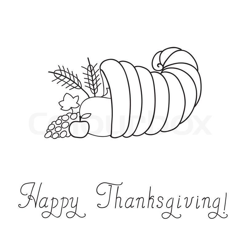 Thanksgiving Day. Cornucopia. Doodle. Template. Vector ...
