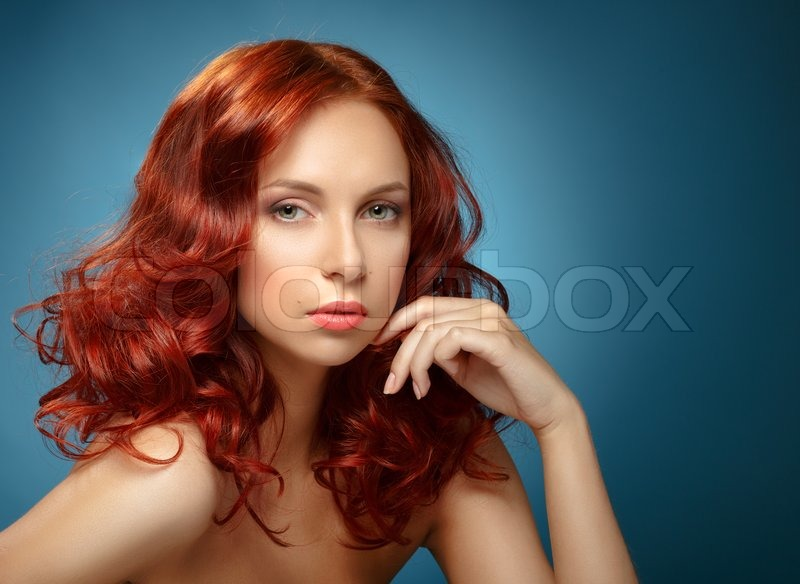 Long Curly Red Hair Fashion Woman Portrait Beauty Model Girl With