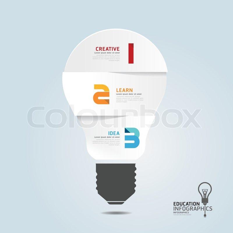 Infographik Vorlage mit Glühbirnen Papier schneiden Banner. Konzept ...