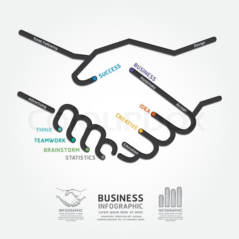 Business Handshake Diagram Line Style Template Can Be Used For Infographics Graphic Or Website Layout Vector Stock Vector Colourbox
