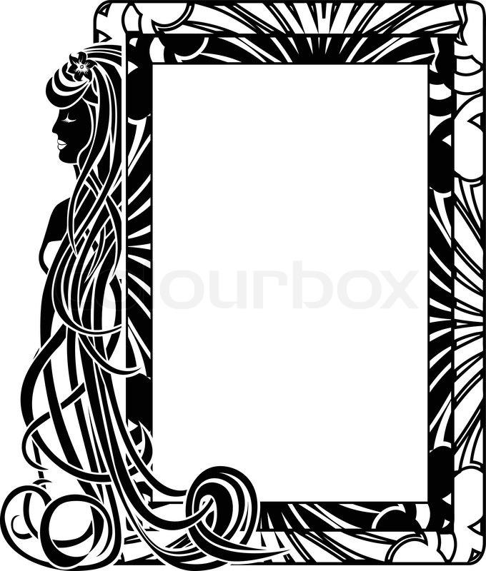 dekorative rahmen in jugendstil stil mit langen haare. Black Bedroom Furniture Sets. Home Design Ideas