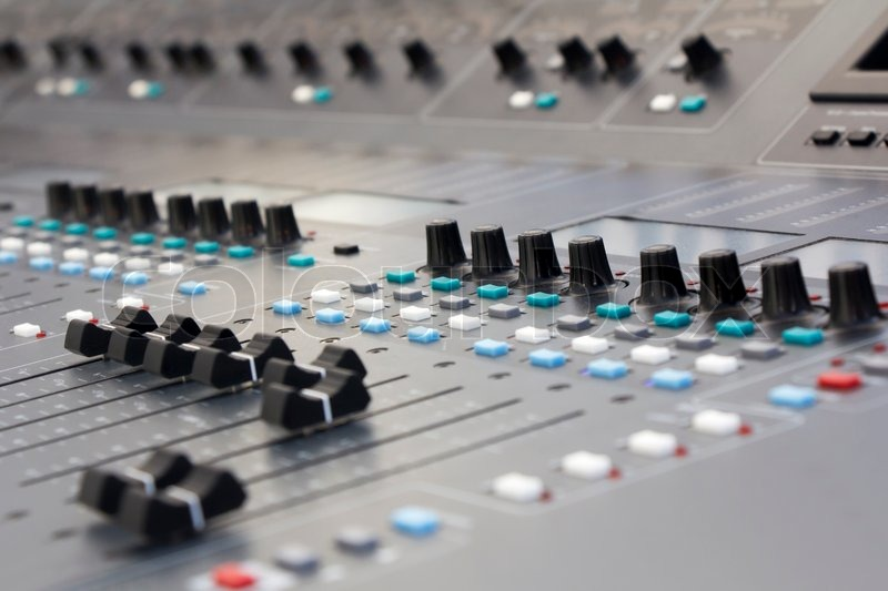 Large Music Mixing desk equipment for sound control buttons equipment for sound mixer control , stock photo