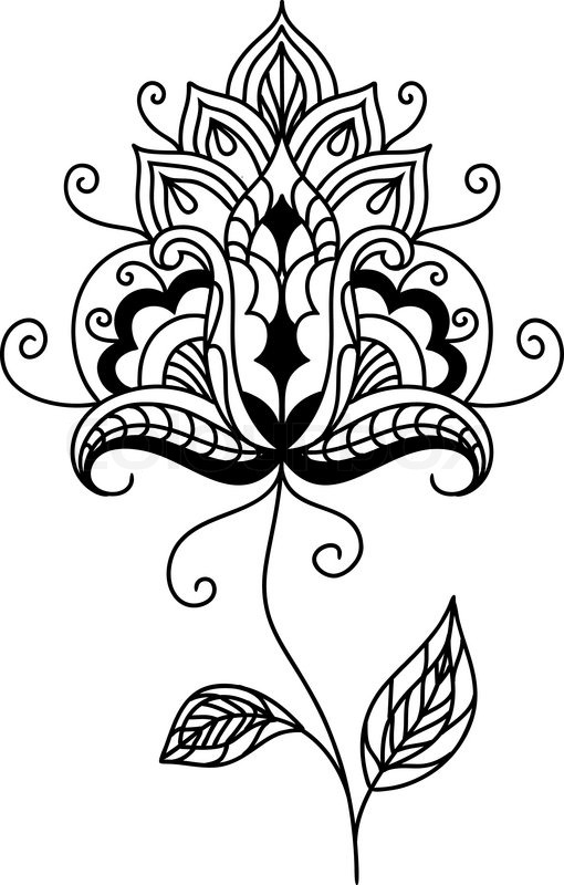 Intricate Vintage Floral Design Element With A Black And