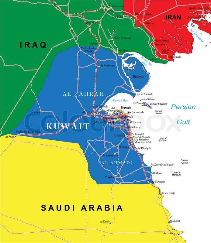 Highly detailed vector map of Kuwait with administrative regions