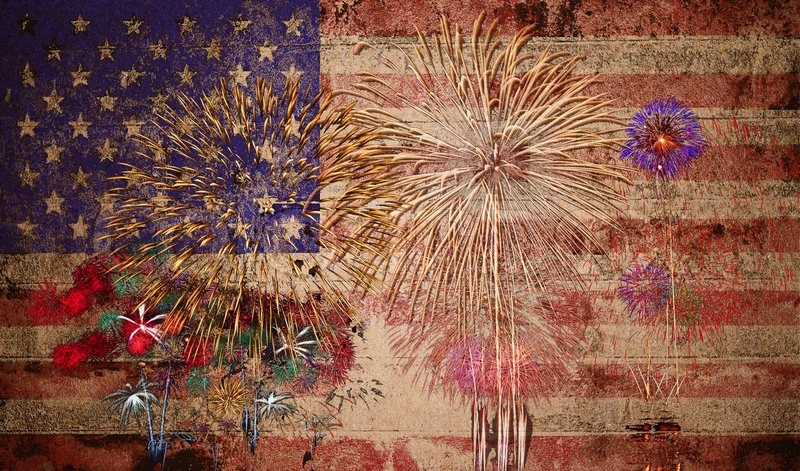 stock image of united states of america usa flag with fireworks background for 4th of