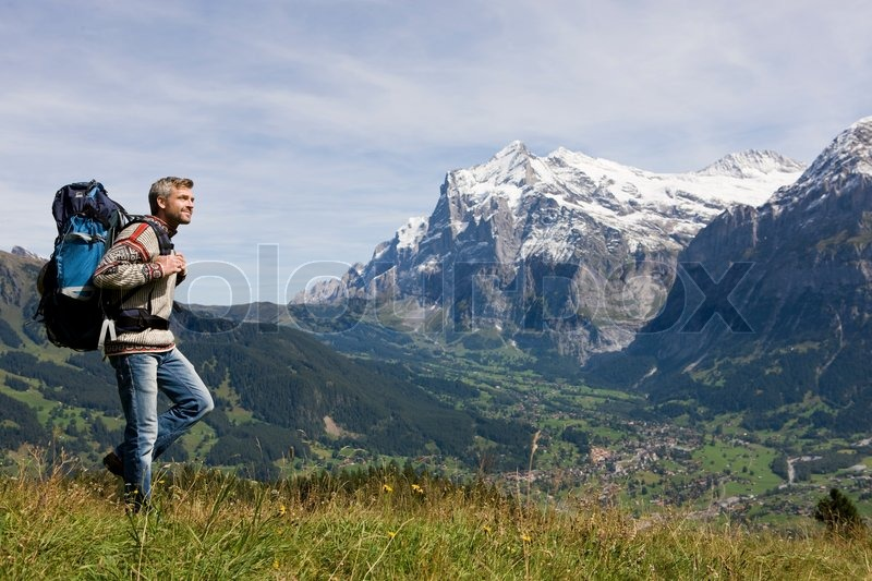 Stock image of 'scenic, view, backpack'