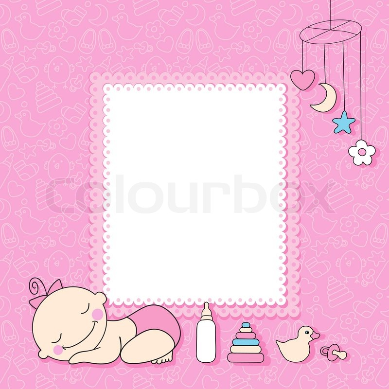 sweet baby girl announcement card style cartoon vector illustration