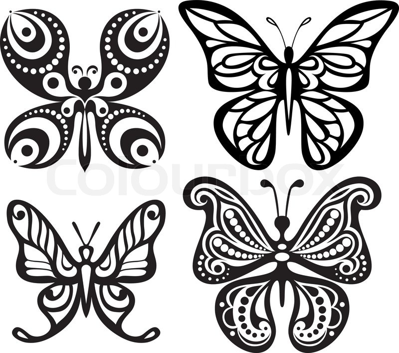 silhouettes of butterflies with open wings tracery  black